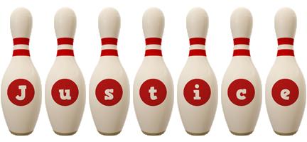 Justice bowling-pin logo