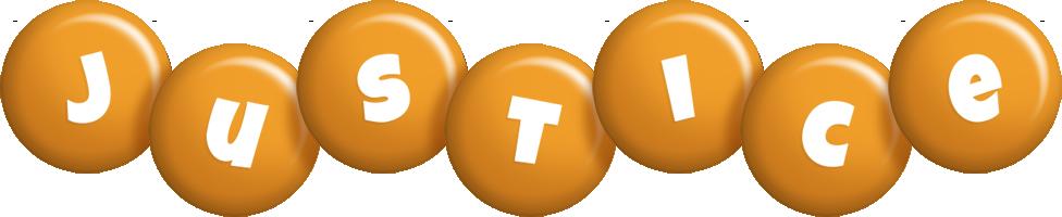 Justice candy-orange logo