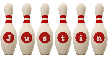 Justin bowling-pin logo