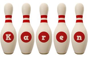 Karen bowling-pin logo