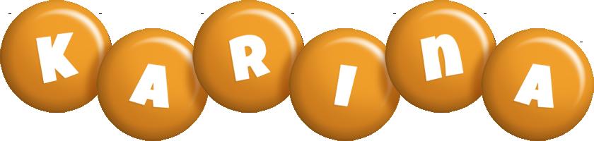 Karina candy-orange logo