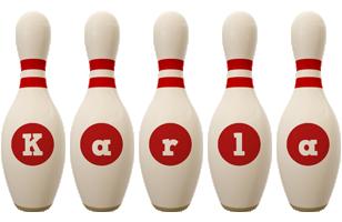 Karla bowling-pin logo