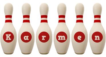 Karmen bowling-pin logo