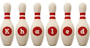 Khaled bowling-pin logo