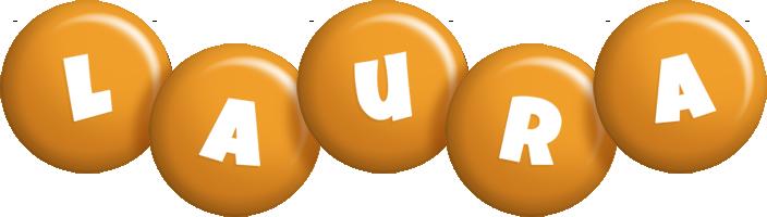 Laura candy-orange logo