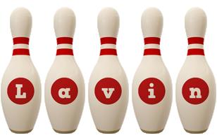 Lavin bowling-pin logo