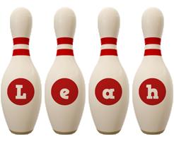 Leah bowling-pin logo
