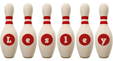 Lesley bowling-pin logo