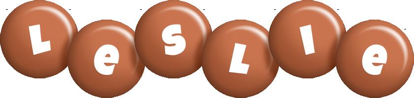 Leslie candy-brown logo
