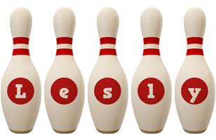 Lesly bowling-pin logo