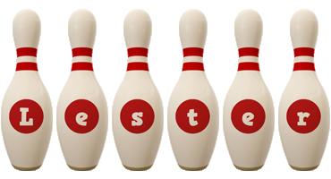 Lester bowling-pin logo