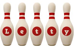 Letty bowling-pin logo