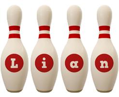 Lian bowling-pin logo