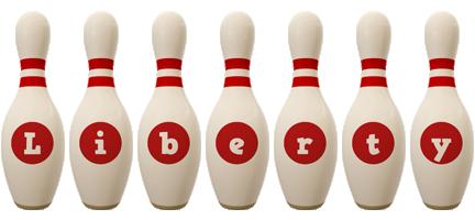 Liberty bowling-pin logo