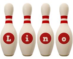 Lino bowling-pin logo