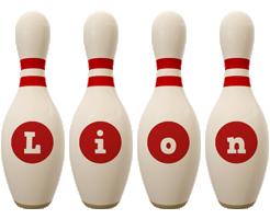 Lion bowling-pin logo