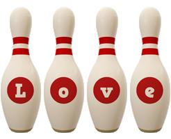 Love bowling-pin logo