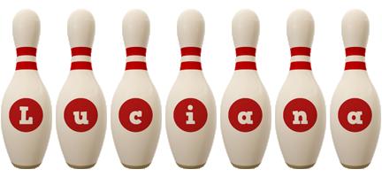 Luciana bowling-pin logo