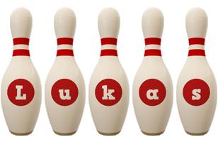 Lukas bowling-pin logo