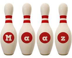 Maaz bowling-pin logo