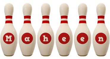 Maheen bowling-pin logo