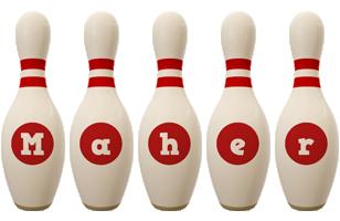 Maher bowling-pin logo
