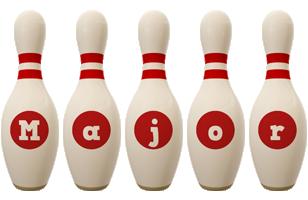Major bowling-pin logo