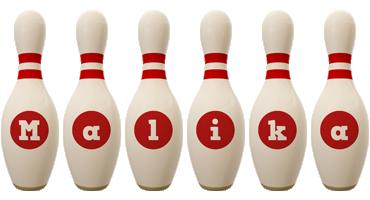 Malika bowling-pin logo