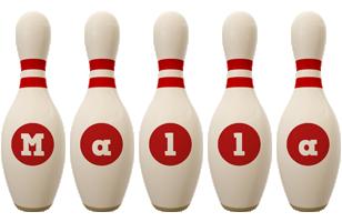 Malla bowling-pin logo