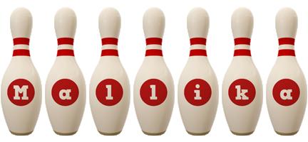 Mallika bowling-pin logo