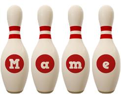 Mame bowling-pin logo