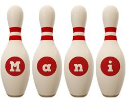 Mani bowling-pin logo
