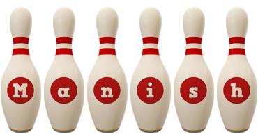 Manish bowling-pin logo