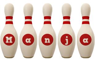 Manja bowling-pin logo