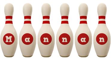 Mannan bowling-pin logo