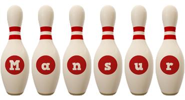 Mansur bowling-pin logo