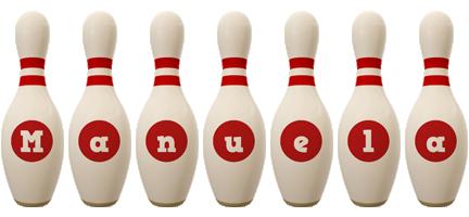 Manuela bowling-pin logo