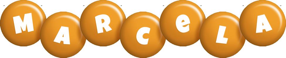 Marcela candy-orange logo