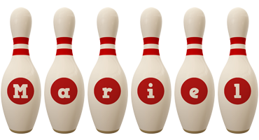 Mariel bowling-pin logo