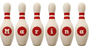 Marina bowling-pin logo