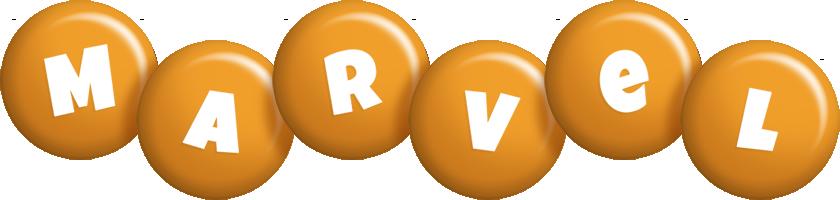 Marvel candy-orange logo