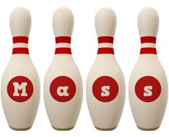 Mass bowling-pin logo
