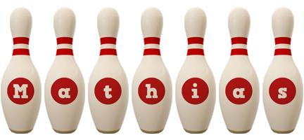Mathias bowling-pin logo