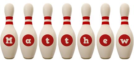 Matthew bowling-pin logo