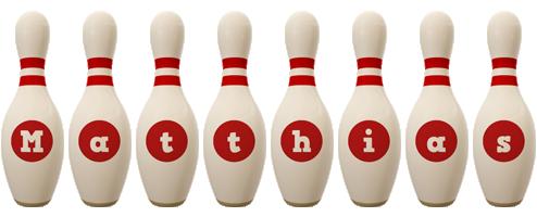 Matthias bowling-pin logo