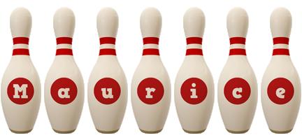 Maurice bowling-pin logo