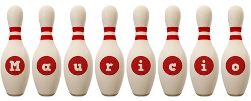 Mauricio bowling-pin logo