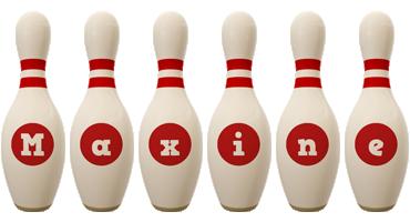 Maxine bowling-pin logo