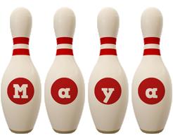 Maya bowling-pin logo