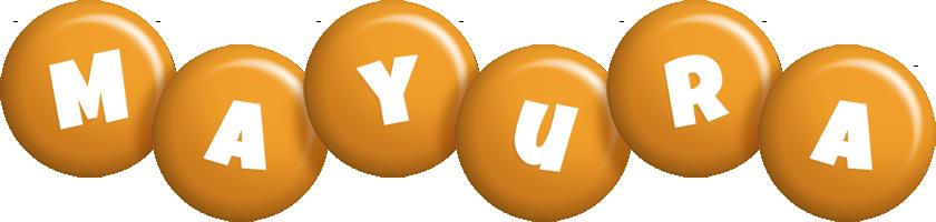 Mayura candy-orange logo